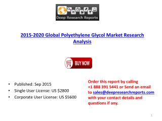 Polyethylene Glycol Industry Statistics and Opportunities Report 2015