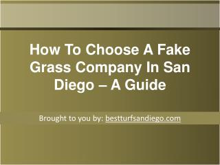 How To Choose A Fake Grass Company In San Diego – A Guide