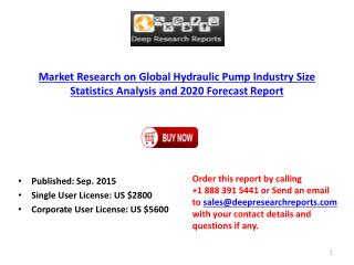 2015 Global Hydraulic Pump Industry Trends Survey and Opportunities Report