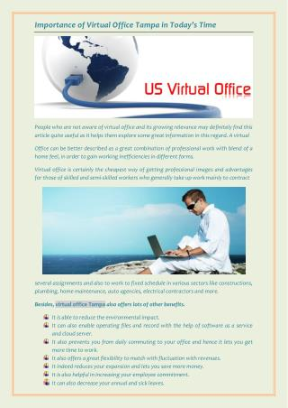 Importance of Virtual Office Tampa in Today's Time