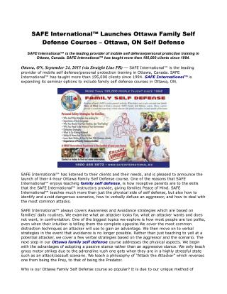 SAFE International™ Launches Ottawa Family Self Defense Courses