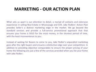 Jake Pedler : MARKETING - OUR ACTION PLAN