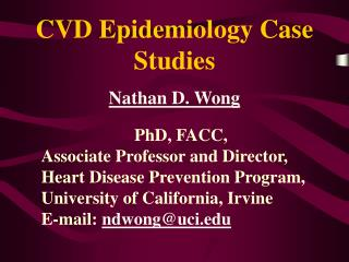 CVD Epidemiology Case Studies