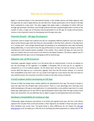 Basic Tips for iOS App Development