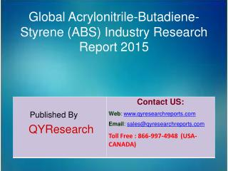 Global Acrylonitrile-Butadiene-Styrene (ABS) Market 2015 Industry Analysis, Research, Share, Trends and Growth