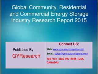Global Community, Residential and Commercial Energy Storage Industry 2015 Market Research Report
