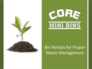 Bin Rentals for Proper Waste Management