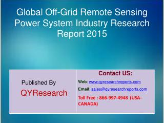 Global Off-Grid Remote Sensing Power System Industry 2015 Analysis, Shares, Insights, Study, Forecasts, Applications, De