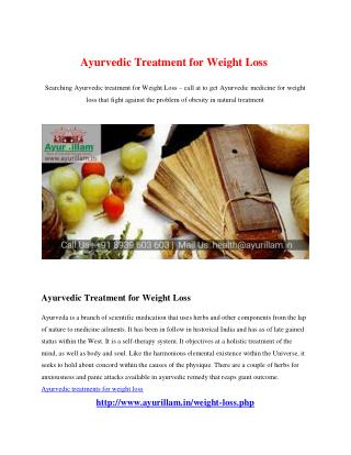 Ayurvedic Treatment for Weight Loss�