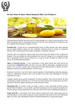 Do You Want To Know About Botanical Skin Care Products?