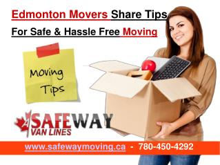 Edmonton Movers Share Tips For Safe & Hassle Free Moving