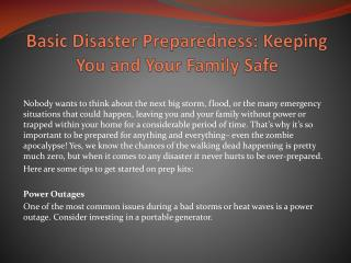 Basic Disaster Preparedness: Keeping You and Your Family Safe