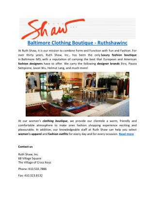Baltimore Clothing Boutique - Ruthshawinc