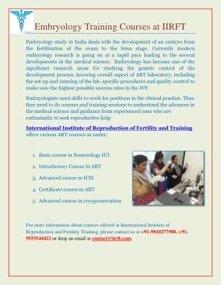 Embryology Courses in India