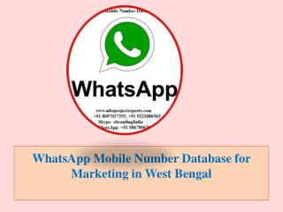 WhatsApp Mobile Number Database for Marketing in West Bengal