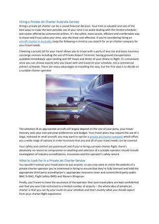 Hiring a Private Jet Charter Australia Service