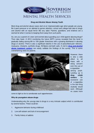 Drug and alcohol abuse among youth