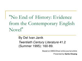 No End of History: Evidence from the Contemporary English Novel