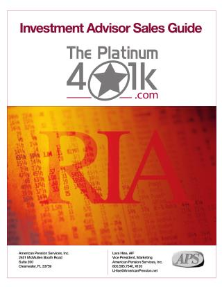 The Platinum 401k Advisor Sales Guide