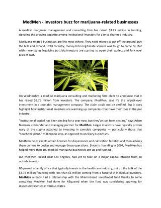 MedMen - Investors Buzz For Marijuana-Related Businesses