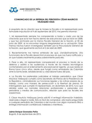 Comunicado de la defensa del periodista César Velásquez Ossa