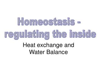Heat exchange and Water Balance