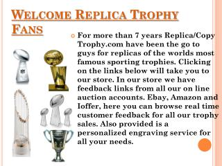 Replica Trophies � Vince Lombardi, World Series and Larry O Brien Trophy