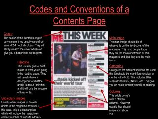 Codes and Conventions of a Contents Page