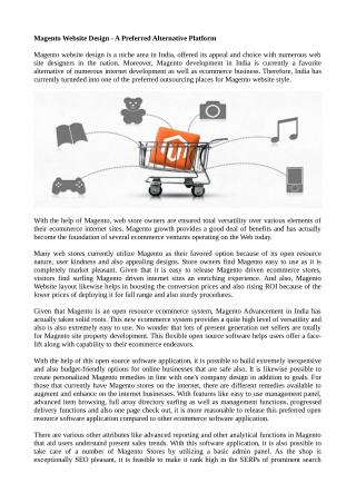 Magento Website Design - A Preferred Alternative Platform