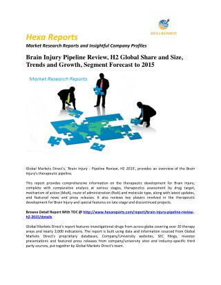 Brain Injury Pipeline Review, H2 Global Share and Size, Trends and Growth, Segment Forecast to 2015