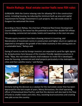 Navin Raheja- Real estate sector hails new FDI rules