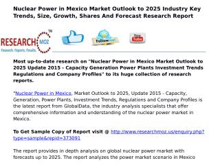 Nuclear Power in Mexico Market Outlook to 2025 Update 2015 - Capacity Generation Power Plants Investment Trends Regulati