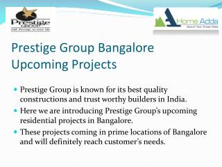 Prestige Group Bangalore Upcoming Projects