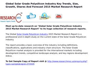 Global Solar Grade Polysilicon Industry 2015 Market Research Report