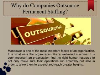 Why do Companies Outsource Permanent Staffing?