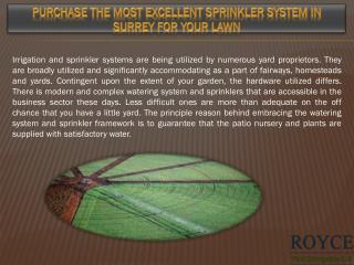Purchase the Most Excellent Sprinkler System in Surrey for your Lawn