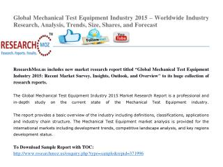 Global Mechanical Test Equipment Industry 2015 Market Research Report