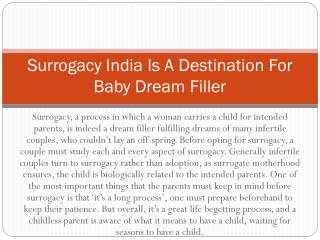 Surrogacy India Is A Destination For Baby Dream Filler