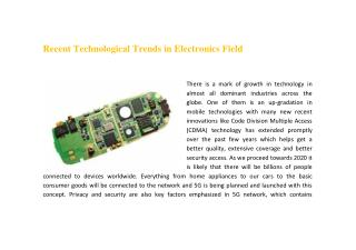 Recent Technological Trends in Electronics Field