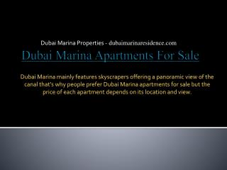 Dubai Marina Apartments for Sale - Dubai Marina Properties