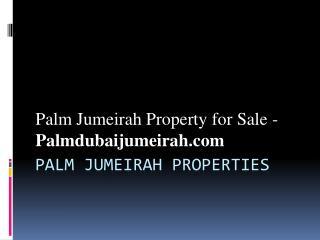 Palm Jumeirah Property for Sale