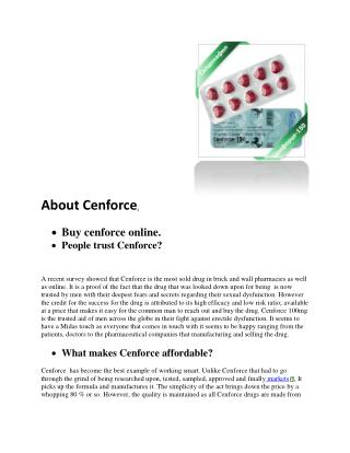 Cenforce Online >> Best Prices >> 100mg / 50mg / 25mg / 120mg / 150mg / 200mg Centurion Laboratories Products /buy-cenfo