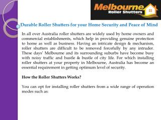 Durable Roller Shutters for your Home Security and Peace of Mind