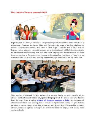 Blog- Institute of Japanese language in Delhi