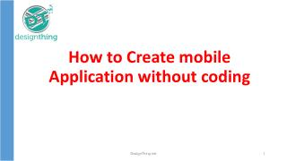 How to create Mobile Application Without Coding