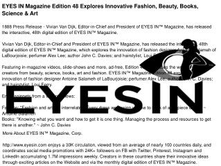 EYES IN Magazine Edition 48 Explores Innovative Fashion, Beauty, Books, Science & Art