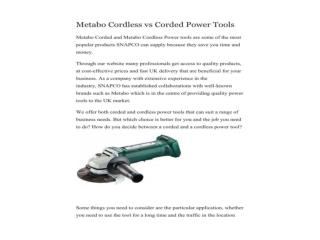 Metabo Cordless vs Corded Power Tools