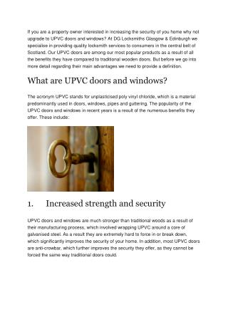 The benefits of using UPVC doors