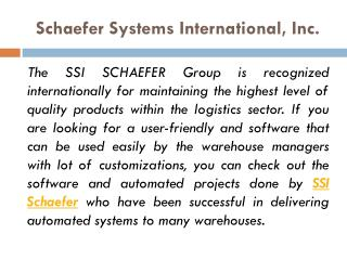 SSI SCHAEFER Maintaining Highest Quality Products