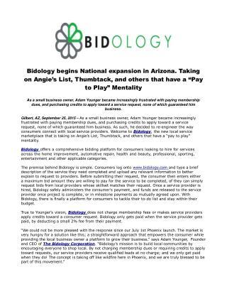 Bidology begins National expansion in Arizona